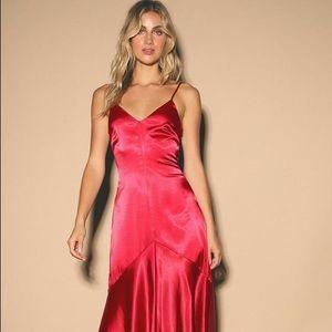 NWT Never Worn Lulus Red Silk Dress